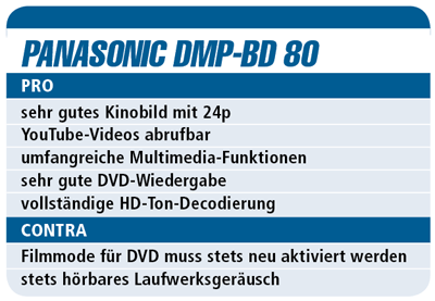 Test des Panasonic DMP-BD 80 - Blu-ray-Player für 400 €