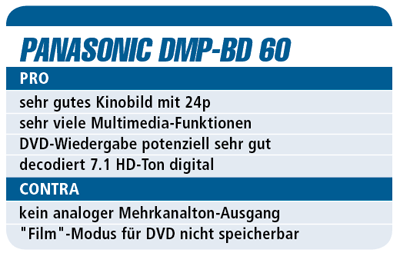 Test Panasonic DMP-BD60 - Blu-ray-Player für 330 €