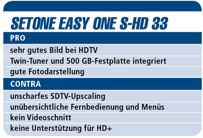 Setone Easy One S-HD 33 - HDTV-Settop-Box für 300 €