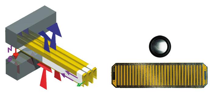 Links: Die ziehharmonikaförmig gefaltete Folienmembran des X-Art-Hochtöners presst Luft effektiv aus den Falten heraus beziehungsweise saugt sie an. Geringe Folienbewegungen werden so in große Luftbewegungen umgesetzt. Das rechte Foto zeigt, um wie viel größer als eine 25-Millimeter-Kalotte die X-Art-Folie ist.