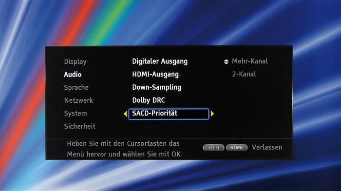 Neben den Audio-Einstellungen kann der Klang des Players vom verwendeten Anschluss abhängen.