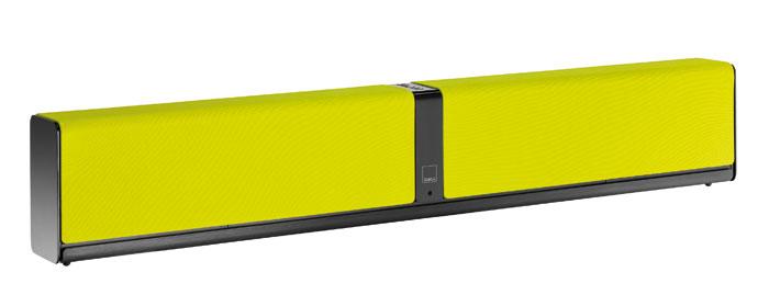 Das knallt rein: Dali bietet die Chassis- Abdeckung der ein Meter breiten Soundbar in neun Farbtönen an, hier die Variante Lime Green / Hellgrün.