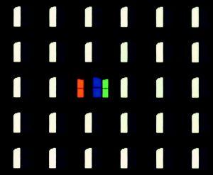 Subpixel-Fehler sind bei OLED-Fernsehern nicht unüblich. Im rechten Bildbereich unseres EC 930 V ist ein weißer Bildpunkt defekt, was er mit leuchtendem Rot, Blau und Grün zu kompensieren versucht.