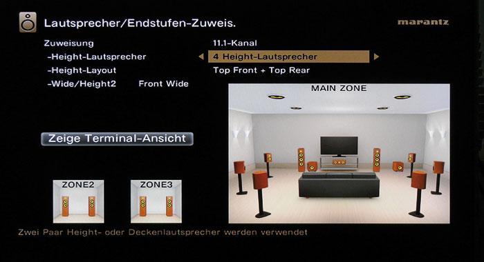 """Im """"11.1-Kanal""""-Setup steuert die Vorstufe abhängig vom Tonformat vier Deckenlautsprecher oder zwei Deckenlautsprecher und Front-Wide-Boxen an."""