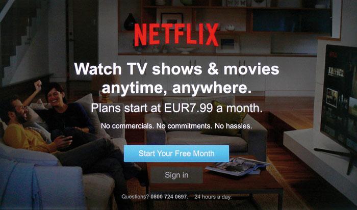 Netflix ist das größte Streaming-Portal. Schon die Startseite verrät, was der Spaß kostet. Im Angebot stöbern kann man erst nach der Registrierung.