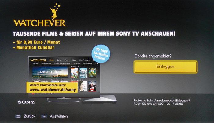 Watchever lockt mit einem kostenlosen Probemonat und verrät den 30-Tage-Preis. Zum Einloggen muss man vorher ein Konto am PC erstellen.