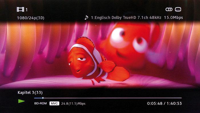 Informativ: Der Sony verrät per Display-Taste die Datenraten für die Audio- und 3D/2D-Videospur.
