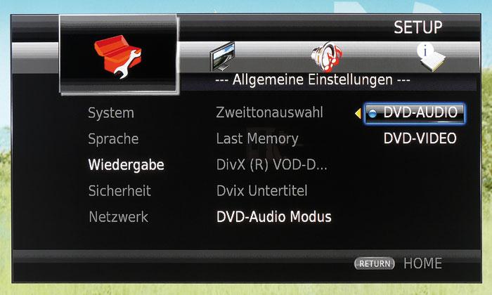 DVD-Audios sind oft mit einer Video-Schicht versehen – ob man sie hört, legt man in diesem Menü fest.
