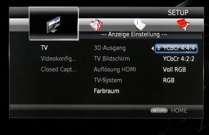 Die HDMI-Farbcodierung lässt sich umschalten, falls der voreingestellte Standard zu Bildfehlern führt.