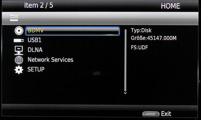 Übersichtlich: Das Home-Menü zeigt alle Bild- und Tonquellen (Disc, USB, Netzwerk).