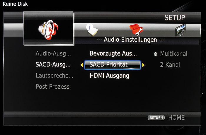 SACDs verfügen oft über eine Stereo- und Mehrkanalschicht, die man im Audio-Menü auswählt.