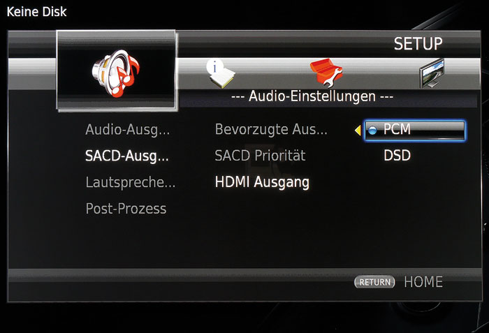 Bei der SACD-Wiedergabe via HDMI hat man die Wahl zwischen der Ausgabe im DSD- und PCM-Format.