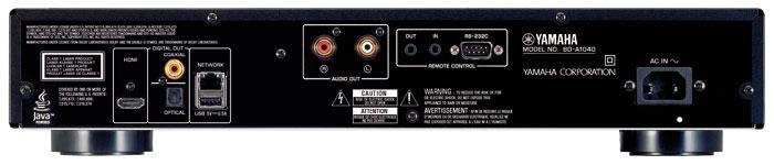 Golden Eyes: Die Rückseite des BD-A 1040 zieren vergoldete Cinch-Buchsen für optimalen Kontakt und schmucke Optik. Für S/PDIF-Ton stehen die Anschluss-Varianten koaxial (Cinch) und optisch (Toslink) zur Verfügung. Mehrkanalton von DVD-Audio und SACD überträgt die HDMI-Schnittstelle – wahlweise im Bitstream- oder PCM-Format.