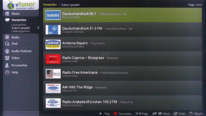 Grenzenloser Musikgenuss: Der Arcam-Player verfügt über ein gut bedienbares Internet-Radio, das mit hochauflösenden Senderlogos, Volltext-Suche, Verlaufslisten und Wiedergabe archivierter Beiträge aufwartet.