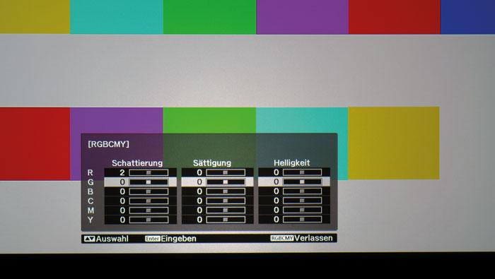 Übersichtlich: Alle Einstellungen im Farbmanagement des EH-TW 6600 W lassen sich auf einen Blick darstellen.