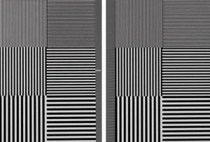 Testbild Full-HD-Pixelraster: Die Darstellung horizontaler und vertikaler Strukturen gelingt bei 4K-Zuspielung (rechte Bildhälfte) etwas gleichmäßiger. Mit einem Full-HD-Signal betont der LG horizontale Feindetails, während vertikale leicht an Kontrast einbüßen.