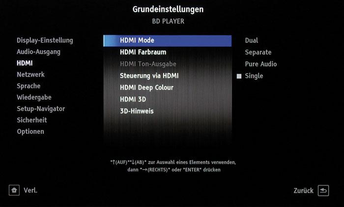 """Übersichtlich: Das """"Grundeinstellungen""""-Menü präsentiert sich übersichtlich und umfangreich. Hier zu sehen sind die HDMI-relevanten Einstellungen."""