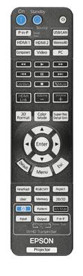 Groß, schwer und beleuchtet: Epsons Fernbedienung verlegt man selten. Eigene Tasten verzweigen direkt ins Farbmanagement oder wechseln die Quelle für die praktische Bild-in-Bild-Funktion des Projektors.