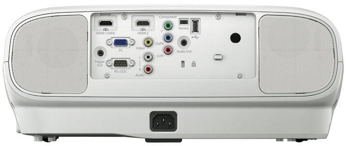 Moderne Vielfalt: Auch am Projektor stehen zwei HDMI-Eingänge bereit, einer davon ist MHL-kompatibel. Der Ton wird wahlweise analog, via HDMI-Kabel oder per HDMI-Funkverbindung empfangen und in Stereo über die rückseitigen Lautsprecher ausgegeben.
