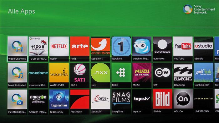 """Zentrum der Unterhaltung: Das Sony Entertainment Network (SEN) vereint alle Smart-TV-Apps auf einer Seite. Besitzer eines 4K-Bravia-Fernsehers bekommen in """"PlayMemories Online"""" 15 Gigabyte Cloud-Speicher geschenkt."""