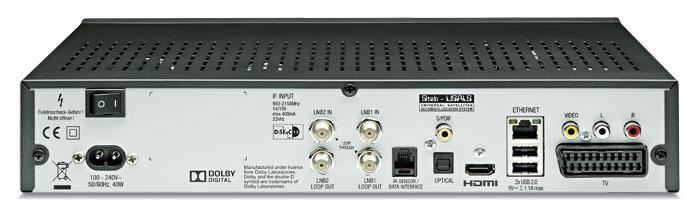 Kathreins DVB-S2-Settop-Box bietet zahlreiche Anschlüsse, unter anderem zwei LNB-Ein- und Ausgänge.