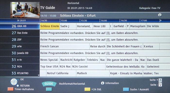 """Am einfachsten lassen sich Sendungen mit dem übersichtlichen Programmführer """"Guide"""" aufnehmen."""