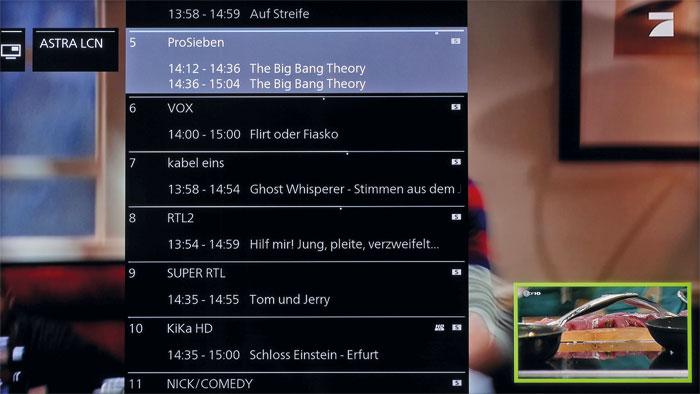 Bild-in-Bild-Funktion: Auf Knopfdruck stellt der Loewe zwei Quellen gleichzeitig dar, so dass man beispielsweise das TV-Programm in Werbepausen ruhig wechseln kann.