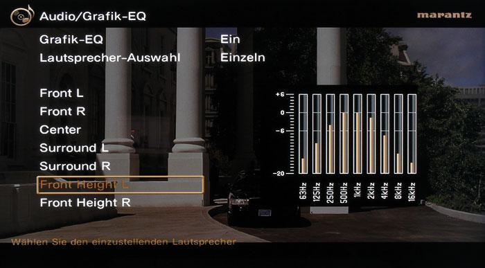 Zum Anpassen des Klangs steht für jeden Lautsprecher ein Neun-Band-Grafik-Equalizer zur Verfügung.