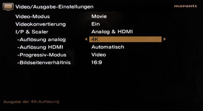 Das Video-Menü wartet mit vielfältigen Einstellungen auf. Sogar analoge Quellen lassen sich auf 4K skalieren.