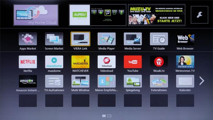 Aus allen Rohren: Panasonics App-Portal stellt ab Werk die sechs beliebtesten Online-Videotheken zur Verfügung. Weitere Dienste können einfach heruntergeladen werden.