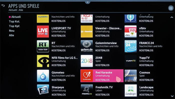 Neben Online-Videotheken und anderen populären Internet-Diensten hält der UF 850 V in seinem Smart-TV-Portal auch Minispiele sowie eine Karaoke-App bereit.