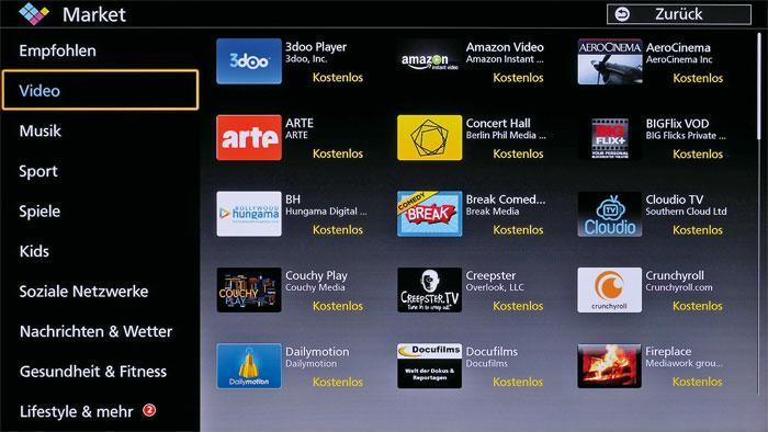 Apps Market: In Panasonics Download-Portal stehen neben zahlreichen Anwendungen auch Minispiele und Lernprogramme zur Auswahl.