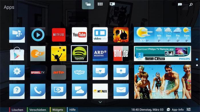 Die Benutzeroberfläche hat mit Android wenig am Hut; das Betriebssystem läuft im Hintergrund. Zu den Setup- und Bildmenüs gelangt man über das Zahnrad-Symbol auf der Startseite.