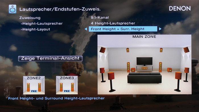 """Bei der Höhenkonfiguration """"Front Height + Surr. Height"""" lassen sich Atmos und Auro zugleich nutzen."""