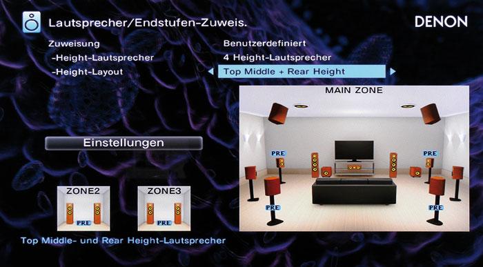 """Dolby Atmos gestattet diverse Lautsprecher- Platzierungen wie """"Top Middle und Rear Height""""."""