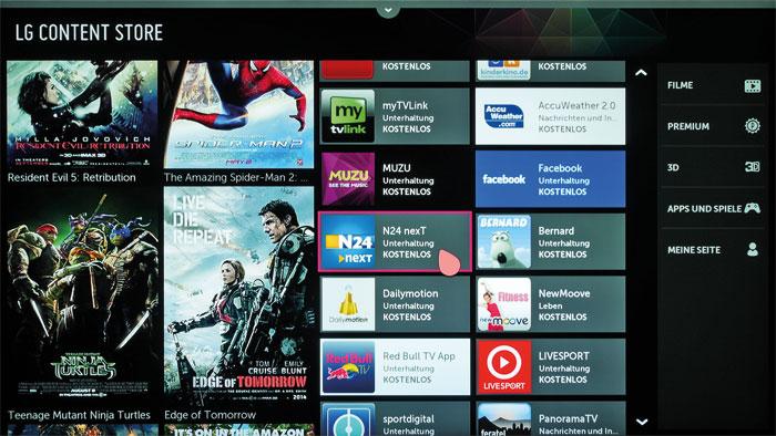 LGs Content Store erschlägt den Zuschauer beinahe mit Inhalten. Hier stehen neben Filmen in 2D und 3D auch zahlreiche Apps und Minispiele zum Abruf bereit.