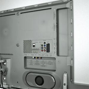 """Im dunkelgrauen Kasten auf der Rückseite steckt die gesamte Technik des Philips PUS 9109, darunter auch das Ambilight und die """"Ambi wOOx""""-Breitband-Lautsprecher."""