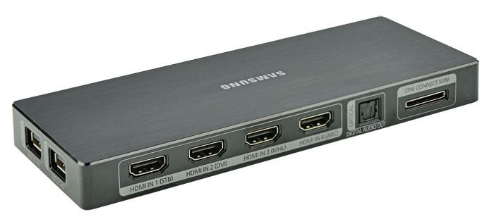 Zum Verlieben: Die Mini-Version von Samsungs One-Connect-Box ist kompakter als die klassische, besticht im Heimkino aber durch ähnlich hohe Flexbilität.