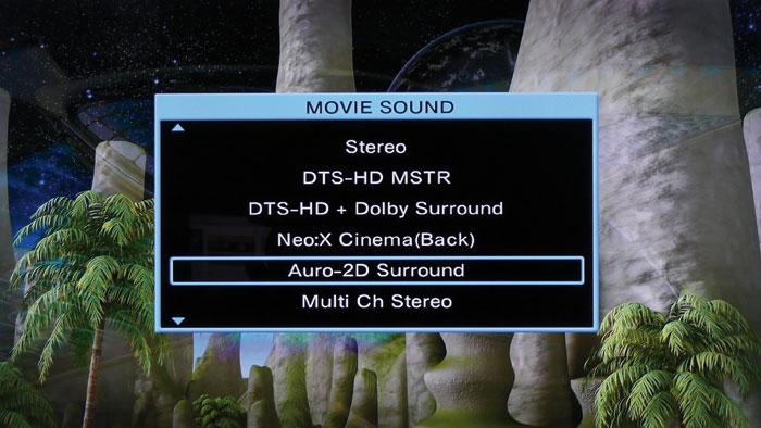 Einige Einstellungen schließen bestimmte Hörmodi aus – wie etwa hier, wo es nur Auro-2D statt -3D gibt.