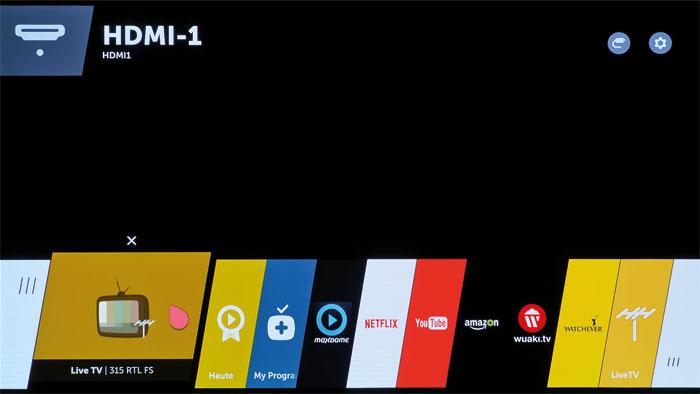 """Die Taskleiste am unteren Bildrand nennt LG """"webOS Launcher"""". Sie sorgt nicht nur für eine leichte Bedienung, sondern ist auch Multitasking-fähig."""