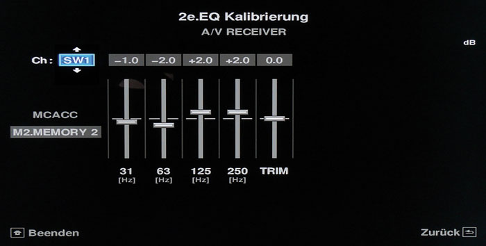 Bass-EQ: Die Einmessautomatik nimmt auch am Subwoofer Klangkorrekturen vor.
