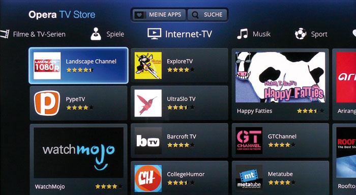 Im Opera TV Store kann man unter rund 250 Apps wählen. Diese lassen sich direkt aufrufen, brauchen also nicht installiert zu werden. Die meisten Angebote – hier die Rubrik Internet-TV – sind eher unbekannt.