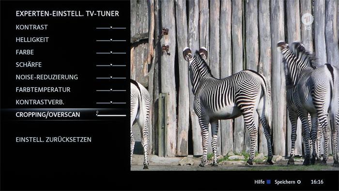 """Perfekt eingerahmt: Über den Regler """"Cropping/Overscan"""" in den Experten-Einstellungen können unsaubere Bildränder auch bei TV-Material einfach maskiert werden."""