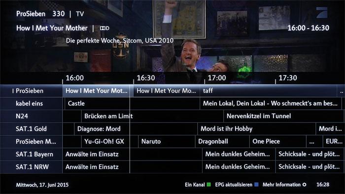 Der elektronische Programmführer stellt die aktuell laufenden TV-Sendungen übersichtlich dar. Die Kanalsortierung des B&O ist leider wenig praxistauglich.