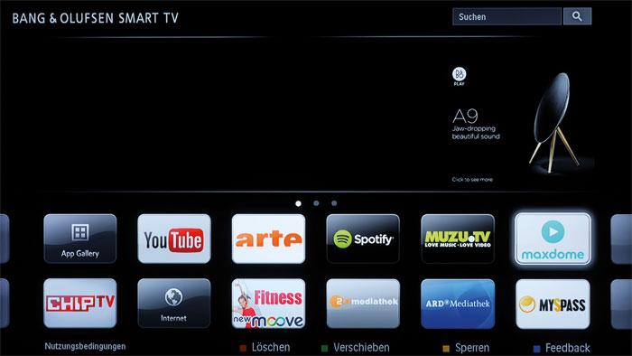 Webmedia: B&Os Smart-TV-Portal stammt von TP Vision beziehungsweise Philips und ist optisch eher schlicht. Ein paar Dienste sind direkt per Fernbedienung abrufbar.
