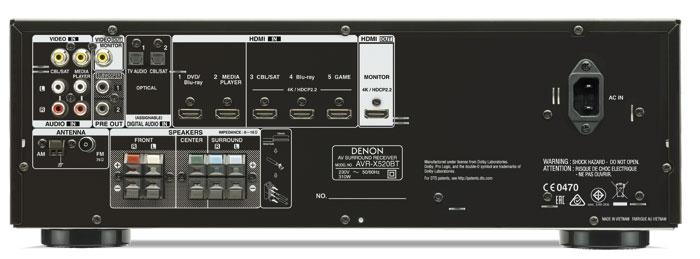 Der Denon erfreut mit einer USB-Buchse an der Front, zwei Subwoofer-Anschlüssen sowie fünf HDMI-Eingängen, von denen sich drei auf 4K und HDCP 2.2 verstehen. Weniger schön sind die fehlende Einspeisemöglichkeit für Digitalton im Cinch-Format sowie die Lautsprecher-Klemmanschlüsse, in die nur dünne Kabel passen.