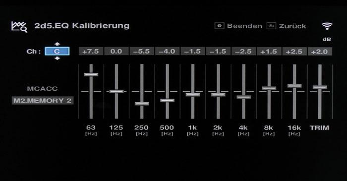 Equalizing: Die automatische und manuelle Klangkorrektur erfolgt mittels eines Grafik-EQ.