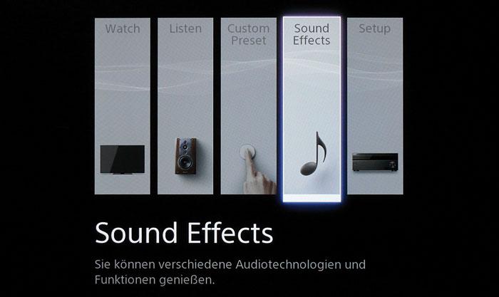 """Das schöne Hauptmenü unterscheidet die Eingänge nach Video (""""Watch"""") und Audio (""""Listen"""")."""