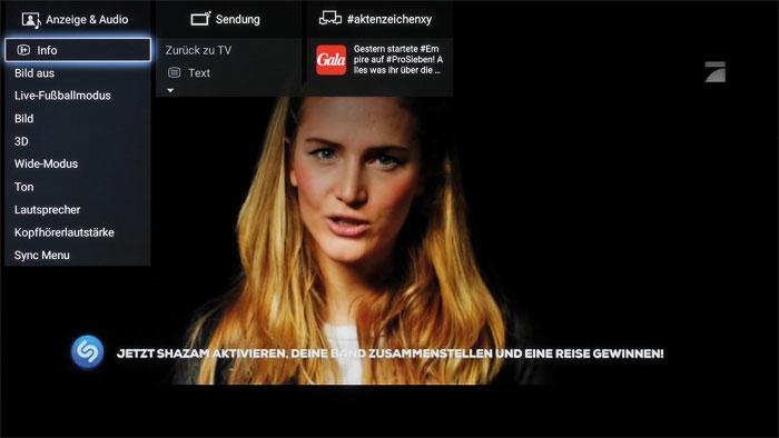 Abkürzung: Das Action-Menü gestattet einen schnellen Zugriff auf die Bild- und Tonregler des Sony-Flaggschiffs. Social-Media-Freunde bekommen am oberen Bildschirmrand aktuelle Tweets zu TV-Sendungen geliefert.
