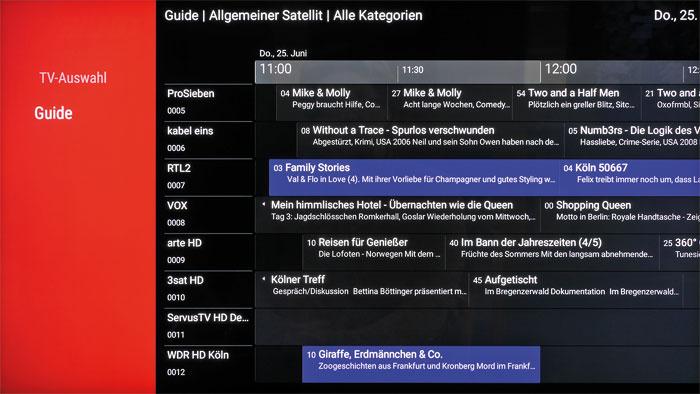 Wissen, was läuft: Der Guide bietet eine übersichtliche Programmvorschau für einen Zeitraum von bis zu zwei Wochen. TV-Aufnahmen lassen sich in der aktuellen Firmware nicht tätigen, die Funktion wird aber nachgerüstet.